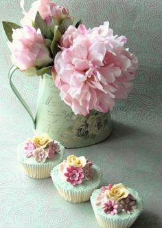 pastel, color, food, flower cakes, flower cupcakes, flowers, tea, decorative cupcakes, pink peonies