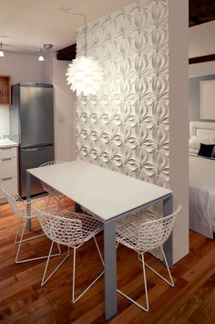 Small Dining Spaces Design, Pictures, Remodel, Decor and Ideas - page 5 -- textured white wall makes a small space unique.