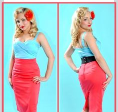 Turquoise Blue top with Coral pink skirt (black belt optional)