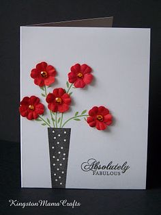Clean and Simple Card...bold colors in the red dimensional flowers with the black & white card.