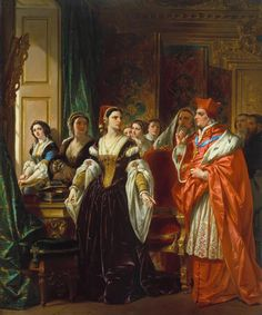 Henry Monro, 'The Disgrace of Wolsey' exhibited 1814 -- painting of Cardinal Wolsey attempting to persuade Catherine of Aragon to admit her marriage was invalid and join a nunnery. It was assumed that because Catherine was so pious that she would willingly retire to a convent. However, she defied that assumption and all the powerful men in England at that time, including her husband, by refusing to acknowledge her marriage as a sham and her daughter as a bastard.