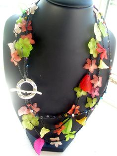 Pina Colada with a View Crochet Flower Necklace by FleasKnees, $22.00