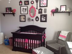 Pink and Gray Baby Nursery - #projectnursery #gallerywall #pinkandgray