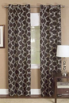 The Infinity Grommet Panel is a large scaled modern interlink circle pattern, on a solid background. 100% Polyester is light weight fabric.  #Contemporary #Modern #Curtains