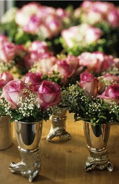 These would be simple D.I.Y. arrangements in our small mercury glass julep cups.