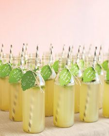 Refreshing drinks that are tagged with their table numbers.   1/2 c sugar   4 1/2 c water   3 1/3 c fresh lemon juice   1/4 c julienned mint, plus leaves for garnish   Combine sugar and 1/2 cup water in a small saucepan. Bring to a boil, stirring until sugar has dissolved. Remove from heat. Let stand until completely cool.  In a 2 1/2-quart pitcher, stir remaining 4 cups water, the syrup, lemon juice, and mint. Refrigerate. To serve, pour into bottles and garnish with mint leaves. bottl, signature drinks, escort cards, place cards, cocktail, apple cider, shower, table numbers, parti