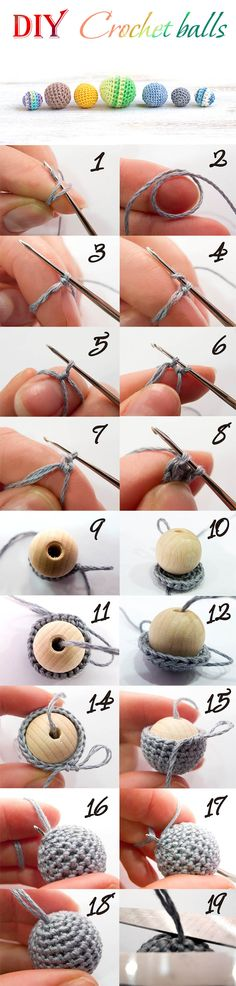 How to make crochet ball. Just string beads on your thread after you crochet your first row (step 8).