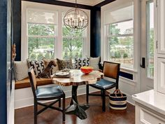 Banquette Seating +Two Chairs for a Small Kitchen