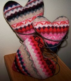 recycled sweater + hearts + love :)