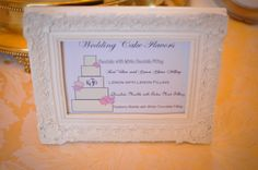 Cake flavor sign displayed on the wedding cake table at the reception