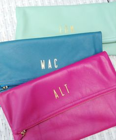 Monogram fold over clutch, Personalized fold over clutch, monogram clutch, fold over clutch monogram, bridesmaids gift