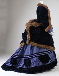 Silk dress and fur-trimmed coat ensemble, 1874