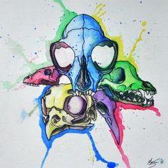 Watercolor Animal Skulls by RainCloudStudios