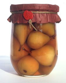 The pears need about a month to absorb the brandy. Make a few jars before Thanksgiving to give for Christmas.