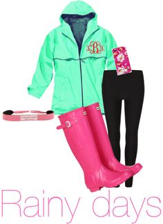 "Cute pink & green rainy day outfit, with preppy monogrammed jacket. ""Untitled #9"" by thepreppylife ❤ liked on Polyvore"
