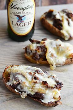 Cheesesteak Potato Skins.  Super delicious appetizer and pretty easy to put together!