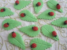 Pretty Lady Bugs Ladybugs and Leaves Fondant Cupcake Topper Collection Edible. $11.00, via Etsy.