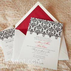wedding invitations: black and white with red accents