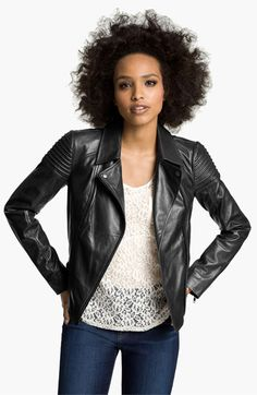 Trouvé Quilted Leather Biker Jacket available at #Nordstrom
