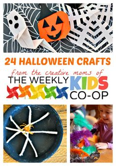 24 Halloween Crafts for Kids at The Weekly Kids Co-Op Link Party #kids #halloween #kidscrafts #kbn