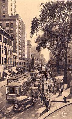 La rue Sainte-Catherine, Montreal, 1930's by Brian Bowrin, via Flickr