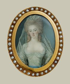 Rare 18th century French portrait miniature of Marie Antoinette.