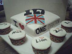 Pastel marmoleado y cupcakes de One Direction
