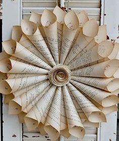 Book Page Wreath French Farmhouse  Paper Rose New Size