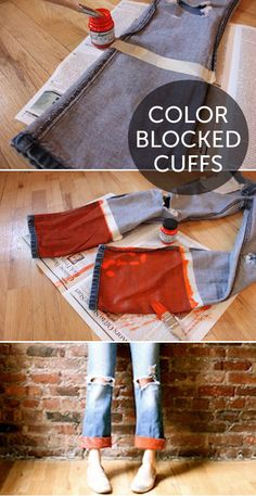 #DIY colorblocked jeans. I have a pair of shorts I should do this to!  Jeans Shorts #2dayslook #JeansShorts #sasssjane  www.2dayslook.com