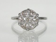 Retro Era Diamond Dome Engagement Ring  042 by lonestarestates, $645.00