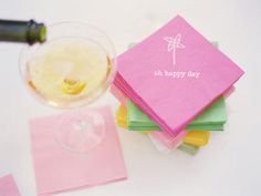 inspiration, napkins, wedding ideas, wedding stationery, papers, cocktail napkin, pinwheel, cocktails, parti