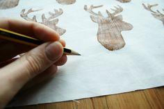 DIY lino printing on fabric