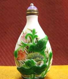Chinese Peking Glass Snuff Bottle, Lotus Blossoms, Signed