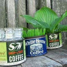 i like the old coffee cans for planters