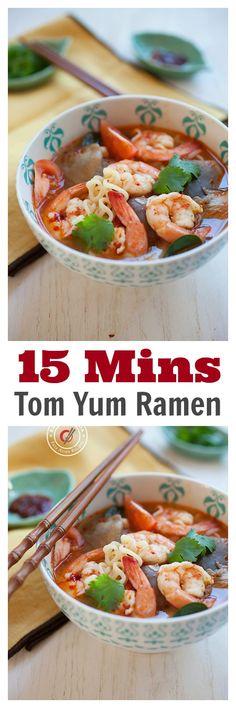 15 mins Tom Yum Ramen -  not instant ramen, but made from scratch, super EASY Thai Tom Yum Shrimp Ramen. So GOOD | rasamalaysia.com