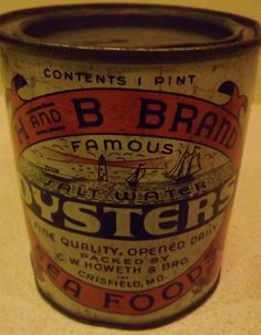 Vintage H and B Brand Oyster Tin