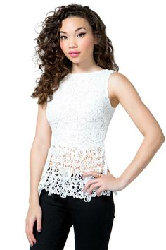 simply irresistible peplum top featuring a crochet overlay and a ...
