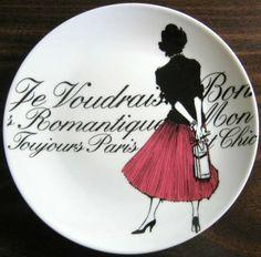 Decorative Dishes - Vintage Rosanna Pink Skirt Girl Black White French Script Plate, $19.99 (http://www.decorativedishes.net/vintage-rosanna-pink-skirt-girl-black-white-french-script-plate/) pink skirt, script plate, french script, skirt girl