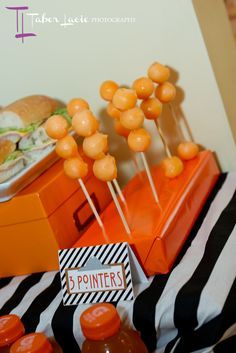 3 melon balls on a stick serve as 3 POINTERS for a basketball themed party...easy and healthy!