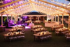 Reception lighting and table setup