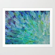 SEA SCALES - Beautiful Ocean Theme Peacock Feathers Mermaid Fins Waves Blue Teal Color Abstract Art Print by EbiEmporium - $20.00