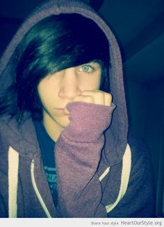-black hair -blue eyes -emo boy  -no piercings