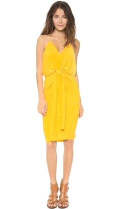 Tbags Los Angeles Knee Length Dress With Knot Detail - Maize by: Tbags Los Angeles