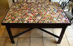 diy ideas, coffee tables, cap tabl, beer caps, beer bottles, mosaic tables, beer bottle caps, bottl cap, man caves