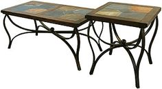 occasional tables, iron tabl, hous idea, end tables, eleg iron, feinlaid iron, santa fe, fe slate, decor idea