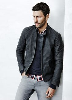 Vince Look 3 Waxed Nubuck Moto Jacket Wool Cashmere Raglan Crew Neck Sweater Flannel Plaid Melrose Button Up