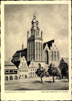 Künstler Ak Karopka, F.,Stargard Szczeciński Stargard Pommern, St. Marien Kirche   eBay