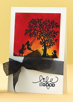 Life is Good Card by @Ashley Walters Walters Walters Harris from this blogpost:  http://www.papercraftsconnection.com/blog/2012/06/back-in-black/