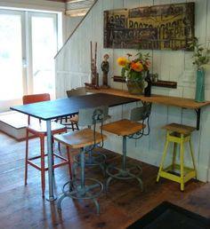 barn kitchen, decorating kitchen, interior design kitchen, kitchen tables, tiny houses, small kitchens, kitchen interior, bar idea, kitchen designs