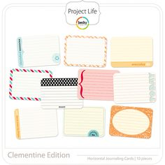 Project Life - Clementine (horizontal) - Journaling Cards; digital